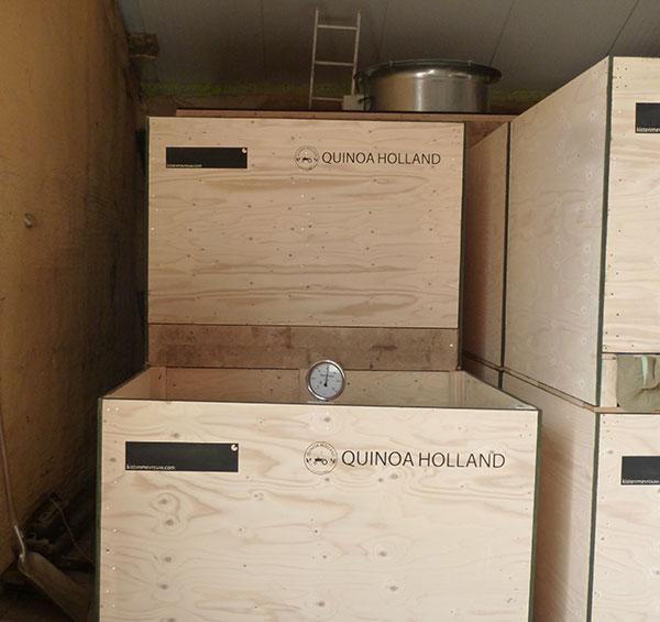 In onze nieuwe bewaring kunnen we lucht door de quinoa kisten heen blazen, zodat de quinoa lang goed blijft.