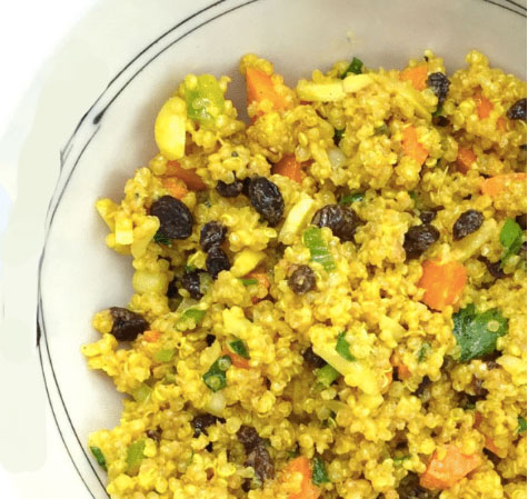 maaltijdsalade curry quinoa gezond vegan